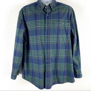 Orvis Button Front Oxford Shirt Navy Green Plaid L
